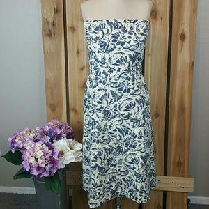 J. Crew Ivory Floral Strapless Dress